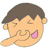 焼酎 の香りをかいで鼻をつまむ青年のイメージ